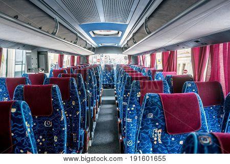 Modern luxury big travel coach in France
