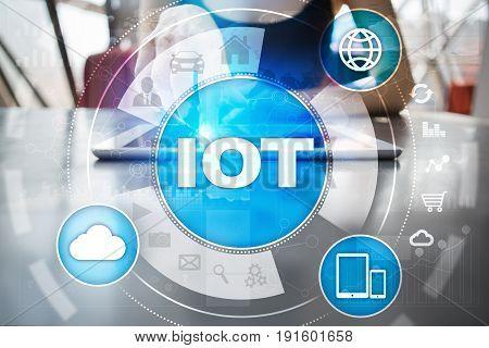 IOT. Internet of Thing concept. Multichannel online communication network digital 4.0 technology internet wireless application development mobile smartphone app.