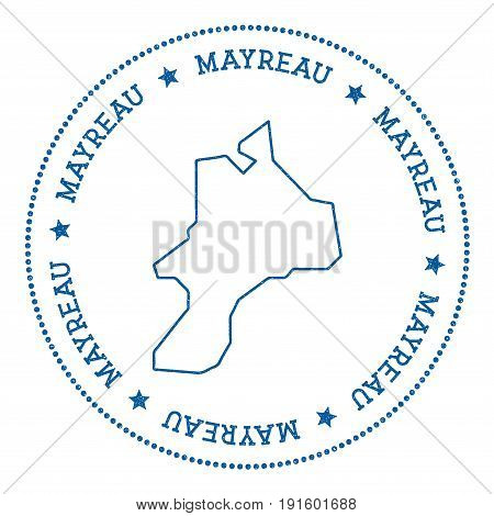 Mayreau Map Sticker. Hipster And Retro Style Badge. Minimalistic Insignia With Round Dots Border. Is