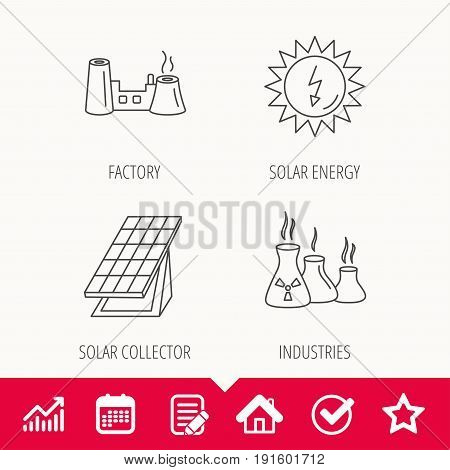 Solar collector energy, factory and industries icons. Solar energy linear signs. Edit document, Calendar and Graph chart signs. Star, Check and House web icons. Vector