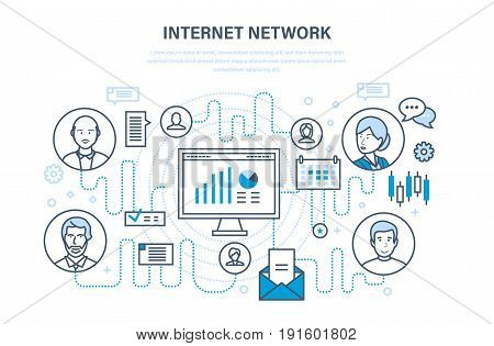 Internet network, people and social network, online security, database, data protection, communication, dialogue, cloud services. Illustration thin line design of vector doodles