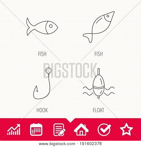 Fishing hook and float icons. Fish linear sign. Edit document, Calendar and Graph chart signs. Star, Check and House web icons. Vector