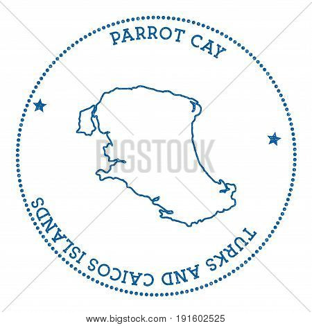 Parrot Cay Map Sticker. Hipster And Retro Style Badge. Minimalistic Insignia With Round Dots Border.