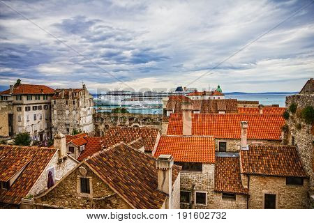 Croatian town Split sea port and ancient houses, Croatia