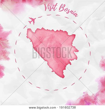 Bosnia Watercolor Map In Red Colors. Visit Bosnia Poster With Airplane Trace And Handpainted Waterco