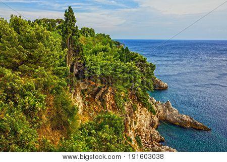 Croatia, Dubrovnik seascape Adriatic sea coast landscape