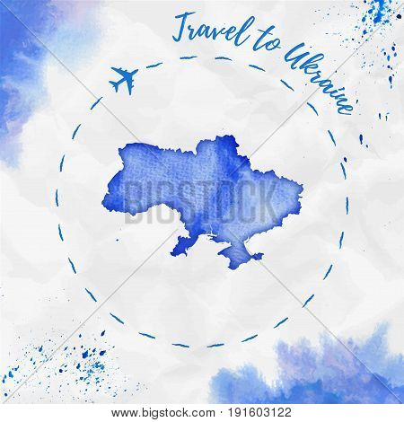 Ukraine Watercolor Map In Blue Colors. Travel To Ukraine Poster With Airplane Trace And Handpainted