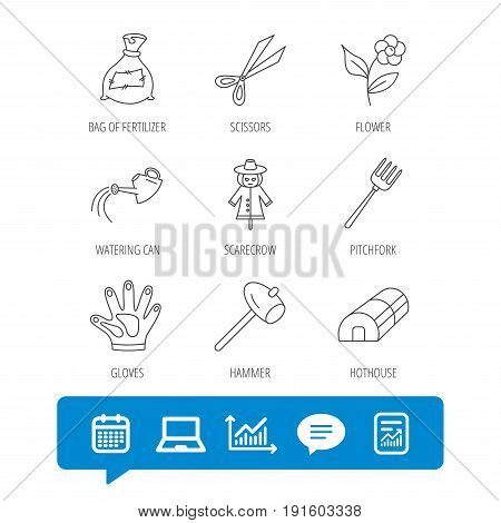 Hammer, hothouse and watering can icons. Bag of fertilizer, scissors and flower linear signs. Hammer, scarecrow and pitchfork flat line icons. Report file, Graph chart and Chat speech bubble signs