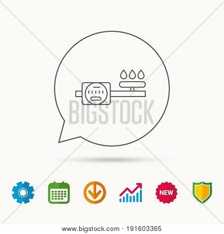 Gas counter icon. Pipe with fire sign. Calendar, Graph chart and Cogwheel signs. Download and Shield web icons. Vector