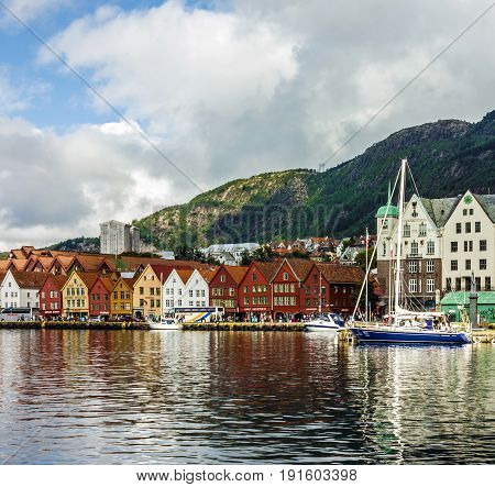 BERGEN, NORWAY - MAY 19, 2017: Sea front in historical part of Bergen, Norway.