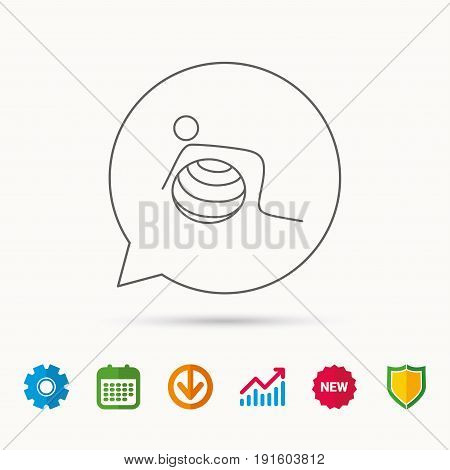 Gymnastic ball icon. Pilates fitness sign. Sport workout symbol. Calendar, Graph chart and Cogwheel signs. Download and Shield web icons. Vector