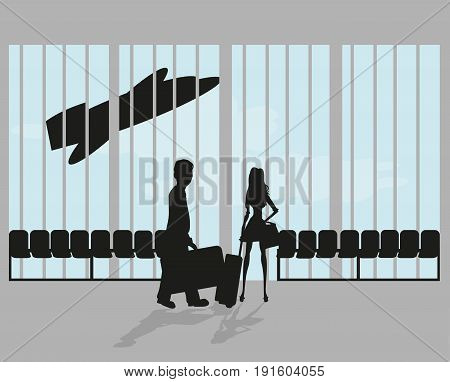 Couple silhouette on airport , vector illustration