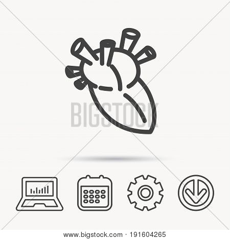 Heart icon. Human organ sign. Surgical transplantation symbol. Notebook, Calendar and Cogwheel signs. Download arrow web icon. Vector