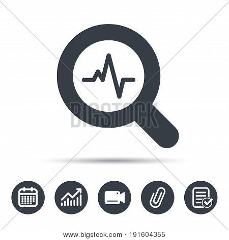 Heartbeat in magnifying glass icon. Cardiology symbol. Medical pressure sign. Calendar, chart and checklist signs. Video camera and attach clip web icons. Vector