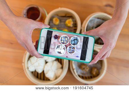 Photo taking on chinese dim sum