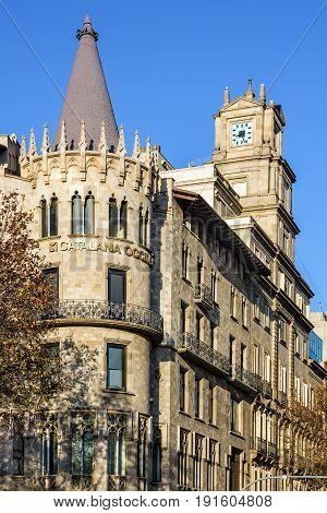 Barcelona, Spain - May 19, 2017: Architecture of Barcelona - building street Avinguda Diagonal