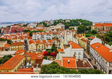Lisboa panoramic view old town architecture, Portugal