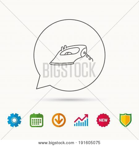 Iron icon. Ironing housework sign. Laundry service symbol. Calendar, Graph chart and Cogwheel signs. Download and Shield web icons. Vector