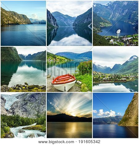 Collage Norway natural summer waterscapes and landscapes.