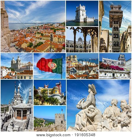 Lisbon architecture abd landmarks travel collage, Portugal