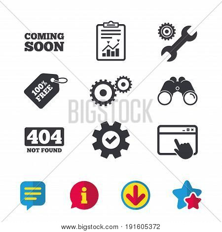 Coming soon icon. Repair service tool and gear symbols. Wrench sign. 404 Not found. Browser window, Report and Service signs. Binoculars, Information and Download icons. Stars and Chat. Vector