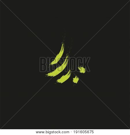 Evergreen coniferous green color needles tree, cedar, pine brunches. Abstract vector logo element. Natural leaves on black background