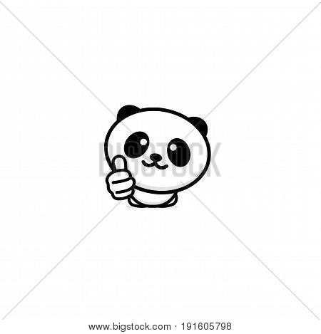 Cute Panda Asian Bear showing like, thumb of hand up, high esteem and approval vector logo. Well done illustration, good job post, excellent symbol.
