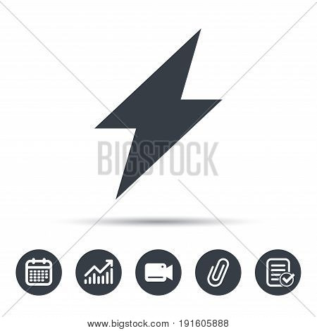 Lightning icon. Electricity energy power symbol. Calendar, chart and checklist signs. Video camera and attach clip web icons. Vector