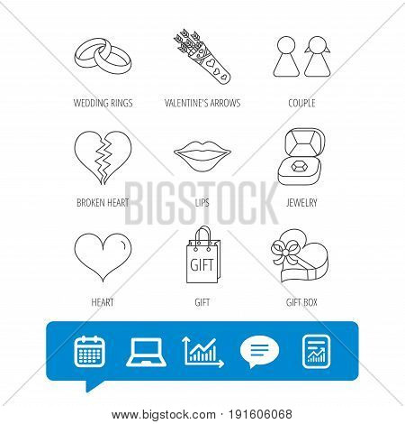 Love heart, kiss and wedding rings icons. Broken heart, couple and gift box linear signs. Valentine amour arrows flat line icons. Report file, Graph chart and Chat speech bubble signs. Vector