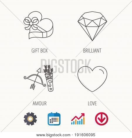 Love heart, brilliant and gift box icons. Amour bow with arrows linear signs. Calendar, Graph chart and Cogwheel signs. Download colored web icon. Vector