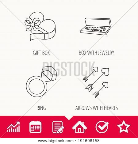 Jewelry, gift box and wedding ring icons. Arrows with hearts linear sign. Edit document, Calendar and Graph chart signs. Star, Check and House web icons. Vector