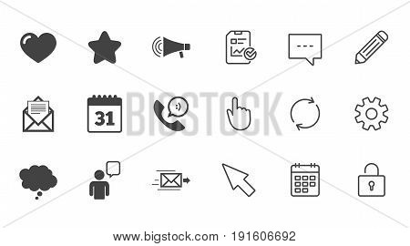 Mail, contact icons. Favorite, like and calendar signs. E-mail, chat message and phone call symbols. Chat, Report and Calendar line signs. Service, Pencil and Locker icons. Click, Rotation and Cursor