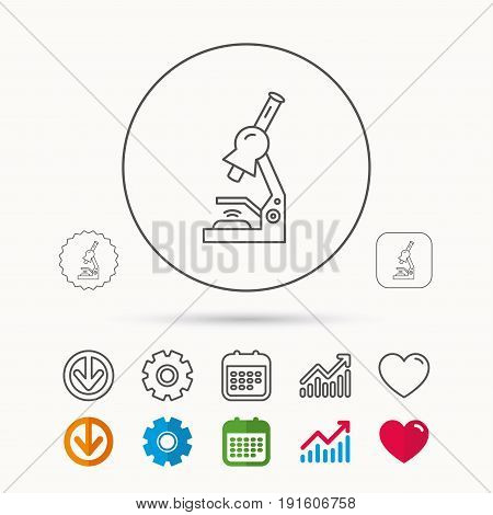 Microscope icon. Medical laboratory equipment sign. Pathology or scientific symbol. Calendar, Graph chart and Cogwheel signs. Download and Heart love linear web icons. Vector