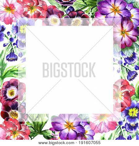 Wildflower viola flower frame in a watercolor style isolated. Full name of the plant: viola, violet. Aquarelle wild flower for background, texture, wrapper pattern, frame or border.