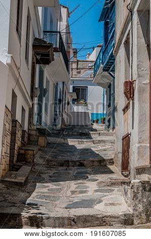 narrow steps leading the way on the island of skopelos