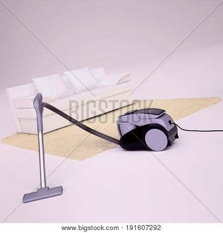 Modern vacuum cleaner being used while vacuuming a white floor and fluffy beige carpet. 3D illustration