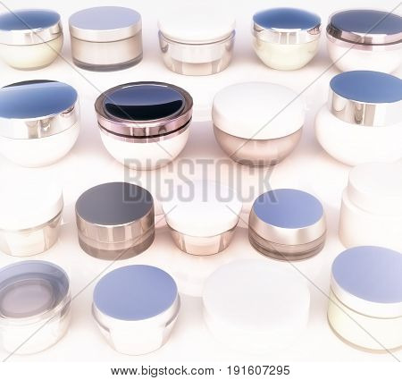 Lines of jars of daily beauty creams. The view from the top. 3D illustration