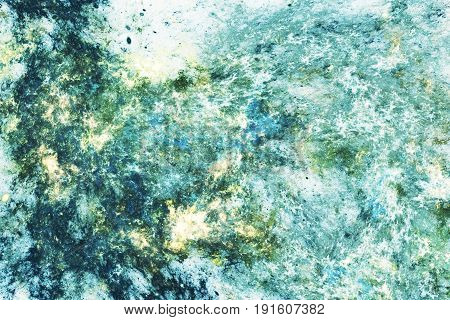 Abstract Marble Texture. Fractal Background In Blue, Green And Golden Colors. Fantasy Digital Art. 3