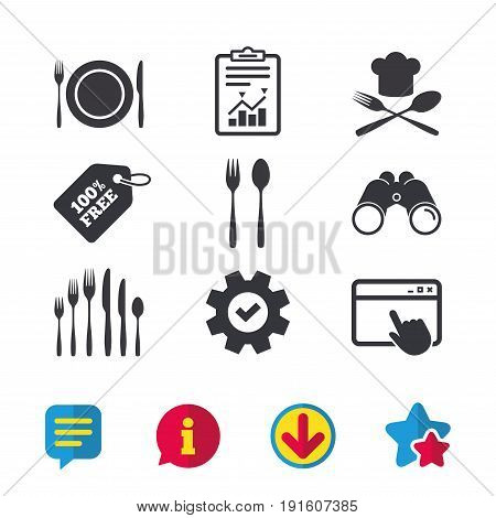 Plate dish with forks and knifes icons. Chief hat sign. Crosswise cutlery symbol. Dessert fork. Browser window, Report and Service signs. Binoculars, Information and Download icons. Stars and Chat
