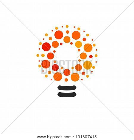 Vector lightbulbs with line, dots and beam logo. New idea symbol, colorful logotypes. Flat abstract bright cartoon bulb. White, black, orange colors sign. Idea circle icon.