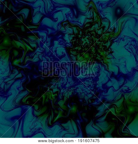 Abstract Swirly Texture. Fantasy Fractal Background In Dark Blue, Green And Black Colors. Digital Ar
