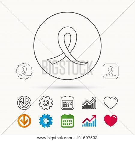 Awareness ribbon icon. Oncology sign. Calendar, Graph chart and Cogwheel signs. Download and Heart love linear web icons. Vector