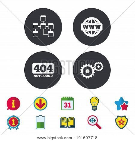 Website database icon. Internet globe and gear signs. 404 page not found symbol. Under construction. Calendar, Information and Download signs. Stars, Award and Book icons. Vector