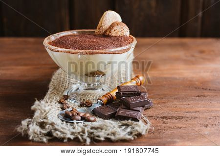 Italian Dessert Tiramisu In A Sundae Dish