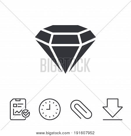 Diamond sign icon. Jewelry symbol. Gem stone. Report, Time and Download line signs. Paper Clip linear icon. Vector