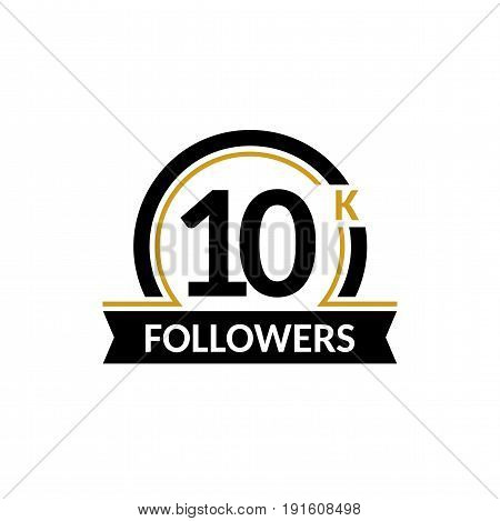 10000 followers and friends, 10K anniversary congratulations design banner template. Black and gold vector illustration