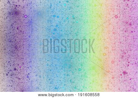 Abstract Glittering Texture With Sparkles On White Background. Rainbow Gradient. Fantasy Fractal Des