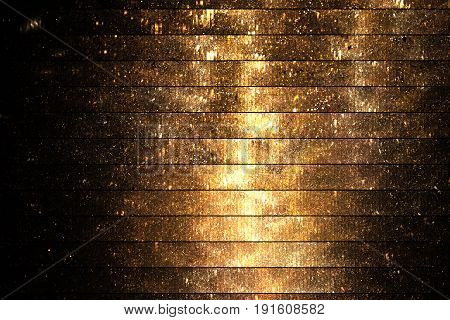 Abstract Glittering Geometric Texture With Gold Sparkles On Black Background. Fantasy Fractal Design