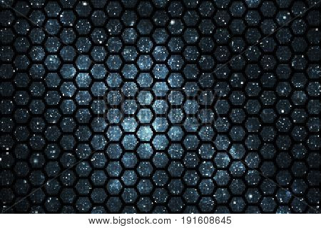 Abstract Geometric Texture With Faded Blue Sparkles On Black Background. Fantasy Hexagonal Fractal D