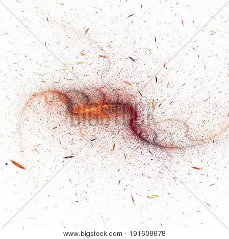 Bright Splash. Abstract Red And Golden Sparkles On White Background. Fantastic Swirly Fractal Textur